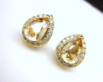 bridal wedding earrings bridesmaid  teardrop shape cubic zirconia luxury post gold earrings with swarovski golden shadow rhinestone crystal
