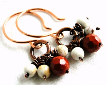 Beaded Earrings, Wire Wrapped Jewelry, Antiqued Copper, Red Jasper and White Howlite
