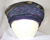Purple and Blue Turban Made From Repurposed Neckties