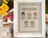 Cupcake or dessert signs, set of 2 / Great for sweet table, food & drink signage, custom text, kraft paper, vintage look