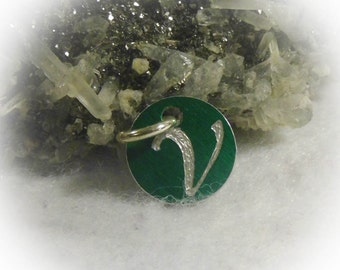 Letter V Hand Engraved Green Personalized Small  Charm 1/2 inch
