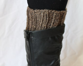 Hand Knit Boot Cuffs, Boot Toppers. Leg Warmers- Brown Fleck