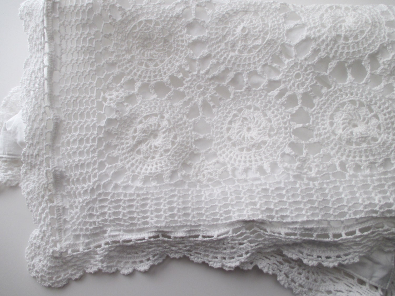 Shabby Chic Crocheted PILLOW SHAM white cotton