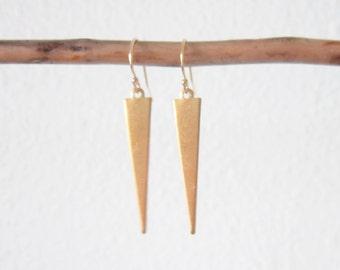 Geo earrings in brass with gold filled ear hooks, delicate modern jewelry