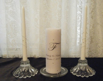 Unity Candle Set with Monogram and Crystals and Pearls