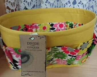 Purse ORGANIZER Insert SHAPER / Bag Organizer / Brilliant Blossoms on Yellow/ 5 Sizes Available / STURDY / Check out my shop for more colors