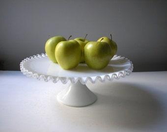 Vintage Fenton Silver Crest Milk Glass Cake Stand / Vintage Wedding Cake Stand