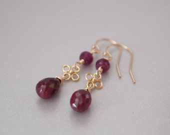 Red Ruby Gold Filled Earrings