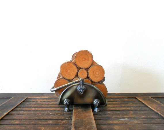 vintage 1980s rustic fireside wooden log coasters