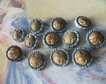 Blue Buttons with Brass Inset