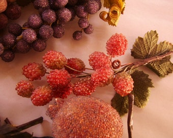 SALE-Vintage Multi Colored Sugared Grapes, Pears, Berries and Fruit Display Items-11 pieces