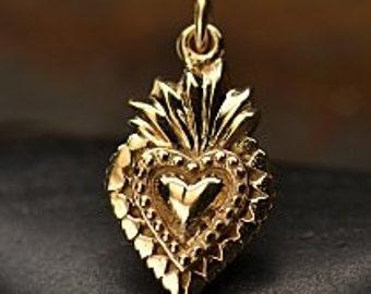 Natural Bronze Sacred Heart Charm - Love, Romance, Faith, Christ