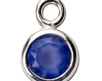 Bezel Charm with 4mm Blue Chalcedony - Gemstones, Findings, Sterling Silver