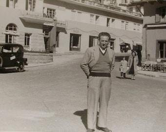 Vintage Black & White Photograph - Man Stood in an Italian Street