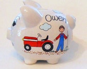 Piggy Bank with Farmer, Tractor and Hay Wagon Personalized