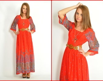 Vtg.70s Lanz Red Ethnic Print Bell Sleeve Red Maxi Dress.S.Bust 34.Waist 26.