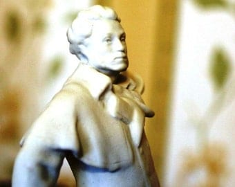 Vintage Statue Figurine - Alexander Pushkin - Russian Poet - White Unglazed Soviet Porcelain - 1960s - from Russia / Soviet Union / USSR