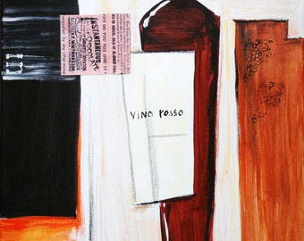 Red wine bottle painting. Original art signed by author. Part of wine/coffee theme