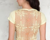 Light Yellow Tshirt with upcycled vintage crochet doily back - Size XS-S