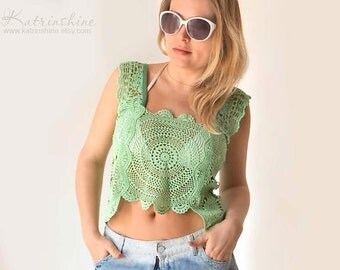 Mint green Tank Top - OOAK Upcycled from hand dyed Lace Doilies
