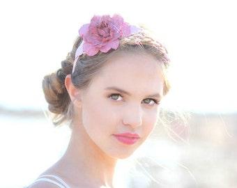 Rose quartz leather flower headband fascinator wedding