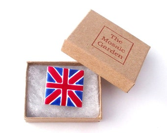 Union Jack Brooch Badge, Union Jack Pin, Gifts for Mum, For Her, Gifts for Girls, Red, Blue