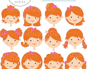 Auburn Girl Faces - Create A Character Series - Cute Digital Clipart - Commercial Use OK - Mix & Match Sets to Create Your Own Character