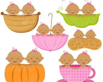 Twin Girl Baby in A Cute Digital Clipart, Dark Skin -Twins in Peapod, Twins in Teacup, Twins in Umbrella, Twins in Peanut, Twins in Pumpkin
