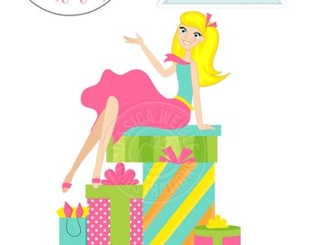 Blonde Woman Sitting on Gifts Character Illustration, Girl and Gifts, Bachelorette Party, Woman Illustration on Gifts, Bridal Shower Party