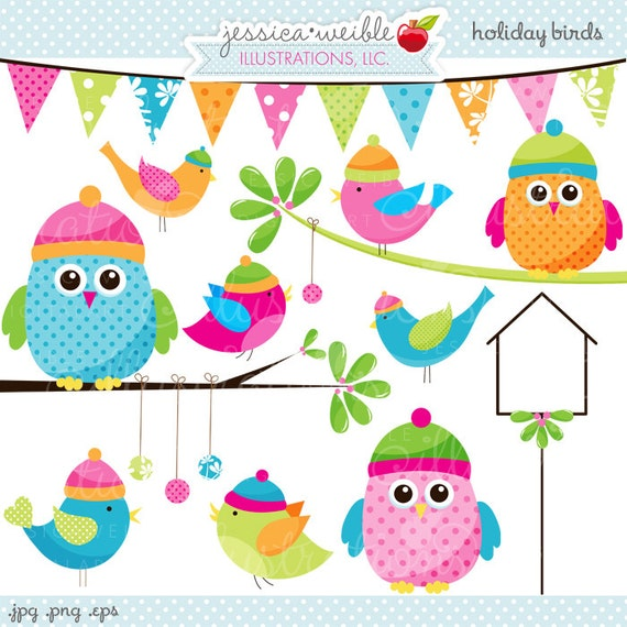 Holiday Birds Cute Christmas Digital Clipart - Commercial Use OK - New Years Owl, Holiday Owl Clipart