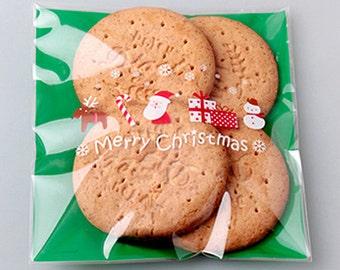 10 Christmas Icon Self Sealing Cellophane Bags - Green (5.1 x 5.5in)