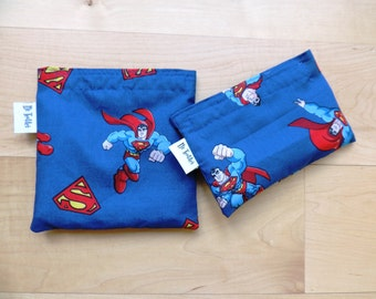 Md/Sm Superman II Set Snack Sandwich Baggie Bag Set with water resistant lining