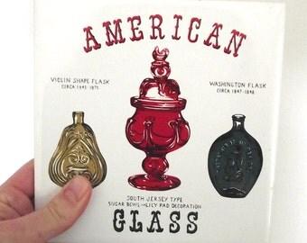 Vintage Ceramic Tile Trivet with American Glass Bottles Illustration