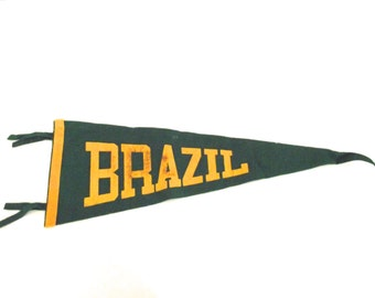 Vintage Felt Souvenir Pennant from Brazil in Green and Gold