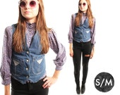 RYDER 70s Vintage Denim Classic Western Chic Button Up Cropped Tank Top Jean Vest Small