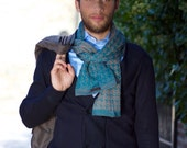 Knitted cotton men scarf ELEMENTS - Teal