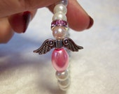 Pink and White Pearl Angel Bracelet Free US Shipping