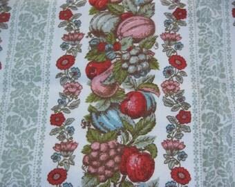 Vintage Rod Pocket Curtain Panels, Pair, Floral, Flowers, Fruits