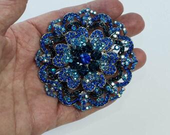 Large Blue Rhinestone Brooch Vintage Pin Vintage Blue Rhinestones