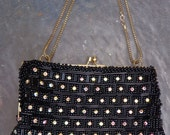 Vintage Rhinestone and Black Beaded Evening Purse