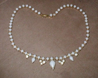 Vintage Milk-Glass & Rhinestone Necklace