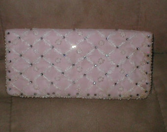 Vintage Pink  Beaded Evening Clutch Purse