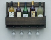 Rustic 6 Bottle Wall Mount Wine Rack With 4 Glass Holder Ebony Finish