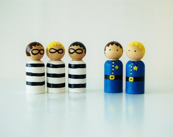 Bag Full Of Cops and Robbers - Wooden Peg Dolls - Unique Gift - Stocking Stuffer