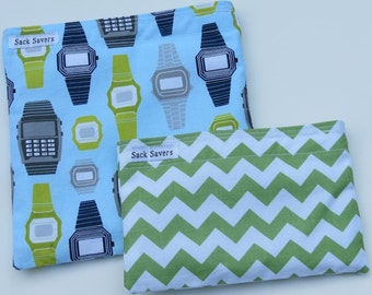 Reusable Sandwich and Snack Bag Set Eco Friendly Retro Watches and Green Chevron