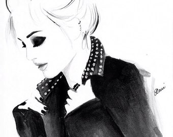 Watercolour Fashion Illustration Titled Punky Topknot