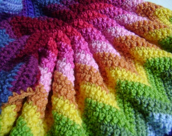Custom Orders Only - Technicolor Crocheted Chevron Blanket - Perfect for the Stroller or Car Seat