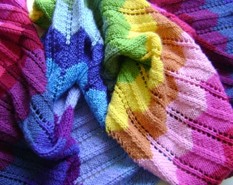 Knitting In Technicolor - Make Your Own Chevron Blanket - Easy Knitting Pattern