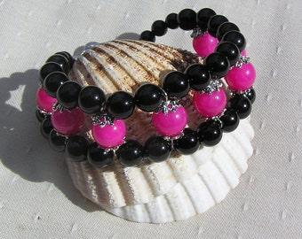 "Crystal Gemstone Cuff Bracelet, Pink Jade & Black Onyx ""Bubble Gum"", Pink Bracelet, Black Bracelet, Chakra Bracelet, Leo Bracelet"