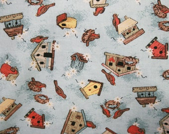 Country Blue Birdhouses and Birds Pillowcase